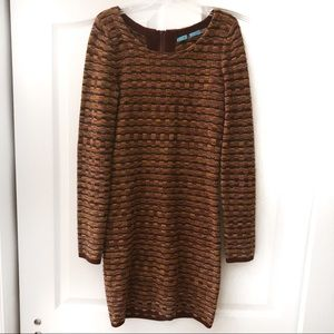 Alice+Olivia Brown Long Sleeve Sweater Dress sz S